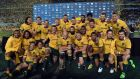 Australia beat New Zealand 27-19 to win the Rugby Championship. Photograph: AFP