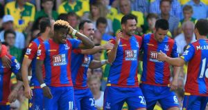 Damien Delaney (3rd R) of Crystal Palace celebrates scoring his team's second goal at Carrow Road Photo: Getty Images