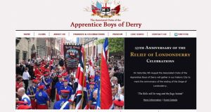 "Website promoting the Apprentice Boys' ""Relief of Derry"" parade and commemorations on Saturday."