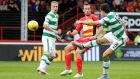 Tom Rogic opens the scoring for Celtic in their Scottish Premiership clash against  Partick Thistle at  Firhill. Photograph: Graham Stuart/Action Images via Reuters/Livepic