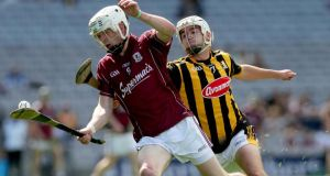 Galway's Jack Coyne gets away from Kilkenny's Conor Doheny during the All-Ireland minor hurling semi-final at Croke Park. Photograph: Donall Farmer/Inpho