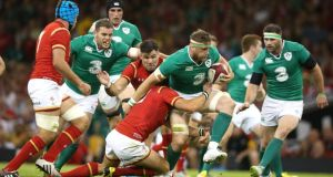 Jamie Heaslip of Ireland charges upfield during the International match between Wales and Ireland at the Millennium Stadium. Photograph: David Rogers/Getty Images