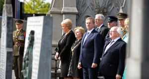 Minister for Arts, Heritage, and the Gaeltacht Heather Humphreys, Lord Mayorof Dublin Críona Ní Dhalaigh, Taoiseach Enda Kenny and President Michael D Higgins, at the Centenary Commemoration of the funeral of O'Donovan Rossa, at Glasnevin Cemetary. Photograph: Eric Luke / The Irish Times