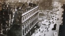 The Imperial Hotel and Clerys on Sackville Street,  looking south from Nelson's Pillar on May  18th, 1916. Photograph: TJ Westropp, courtesy of the Royal Irish Academy.