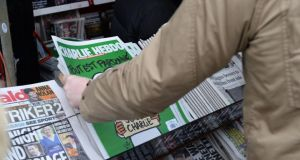 'Charlie Hebdo' on a newsstand, O'Connell Street, Dublin. Photograph: Dara Mac Dónaill/The Irish Times