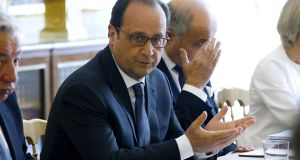 "François Hollande: intervention in Greek crisis was part of France's ""historically self-imposed vocation to represent the cause of humanity"". Photograph: Charles Platiau/AFP/Getty Images"