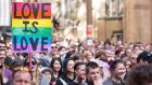 Activists march in the street during a rally in support of same-sex marriage in Sydney, Australia. Photograph: Carol Cho/EPA
