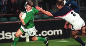A fresh faced Brian O'Driscoll scores his first try for Ireland against the USA in their opening game of the 1999 Rugby World Cup. Photograph: Inpho