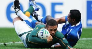Bryan Habana was the best winger on the planet in 2007 and it showed as he ran in four tries against Samoa in South Africa's 2007 World Cup opener. Photograph: Getty