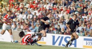 Marc Ellis scored six tries in New Zealand's record 145-17 win over Japan in 1995, a record which still stands today. Photograph: Getty
