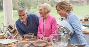 The Great British Bake Off: judges Paul Hollywood and Mary Berry with presenter Mel Giedroyc. photograph: mark bourdillon