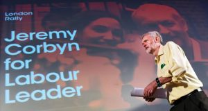 Jeremy Corbyn during a rally in London earlier this month. Photograph:  EPA/ANDY RAIN
