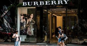 Burberry  store on Russell Street in the Causeway Bay shopping district of Hong Kong, China: fashion group's shares edged up 2p, to 1484p, after being more than 2 per cent higher earlier in the session. Photograph: Xaume Olleros/Bloomberg