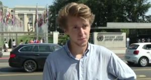 The unpaid intern: David Hyde, who quit his new post at the UN. Photograph: Youtube