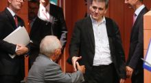 Greek finance minister Euclid Tsakalotos  shakes hands with German counterpart  Wolfgang Schäuble at the start of the  special Eurogroup meeting in Brussels. Photograph: EPA