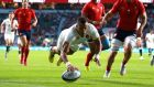 Anthony Watson goes over to score his and England's  second try during the World Cup warm-up match against France at Twickenham. Photograph: David Davies/PA