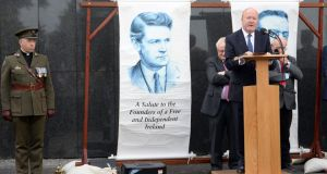 Conor Brady delivering the graveside oration at the Michael Collins and Arthur Griffith commemoration at Glasnevin Cemetary. Photograph: Eric Luke