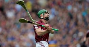 Shane Moloney of Galway scores the winning point in injury time. Photograph: Donall Farmer/Inpho