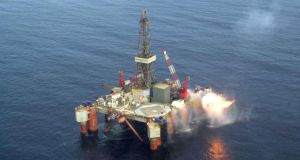 A drilling rig at Providence's Helvic Oil field in the Celtic Sea.  Shares in the Irish oil and gas exploration company have plunged in the past year.