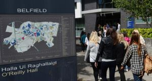 Students at UCD in Belfield: South Co Dublin is the most expensive area in the country, with the average rent now €1,573, up 6.1% on a year ago. Photograph: Cyril Byrne/The Irish Times