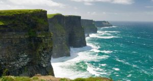 The Cliffs of Moher in Co Clare, where the offshore break Aill Na Searrach draws big wave surfers. Photograph: Lonely Planet