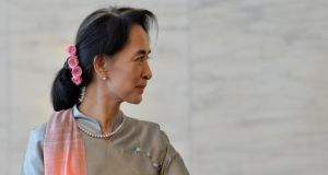 Aung San Suu Kyi: The Nobel laureate leads the opposition National League for Democracy (NLD) that is expected to win the vote in November. Photograph: Andreas Solaro/AFP/Getty Images