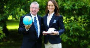 Gold medal winner in restaurant service  Alina Sile with  mentor Ray Cullen from Waterford Institute of Technology