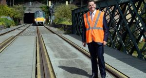 Minister for Transport, Tourism and Sport Paschal Donohoe at the launch of the project to upgrade the Phoenix Park Tunnel and provide train services from Kildare to Grand Canal Dock. Photograph: Eric Luke