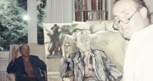 Derek Hill painting a portrait of playwright and songwriter Sir Noël Coward