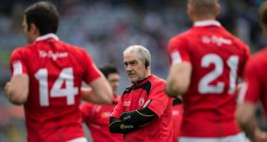 Tyrone manager Mickey Harte has always favoured players who are instinctively going to do the right thing in tight spots, and won't tolerate players who make handling errors. Photograph: Cathal Noonan/Inpho