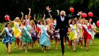 Daithi O Shea and contestants at RTE for the launch of the Rose of Tralee 2015. Photograph: Cyril Byrne/The Irish Times