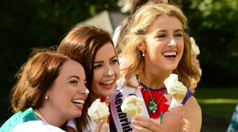 Michelle Caulfield from Monaghan, Eimear Anderson from Derryand Olga Lee from Galway. Photograph: Cyril Byrne/The Irish Times