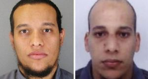 Said Kouachi (left) and Cherif Kouachi. A man who hid in a cupboard for eight hours to escape the Charlie Hebdo gunmen is suing television and radio stations, accusing them of having put his life in danger during the attacks in Paris. Photograph: Judicial Police of Paris/PA Wire