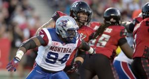 Michael Sam (front) left Canadian Football League side Montreal Alouettes' last Friday. Photograph: Reuters.
