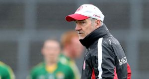 Tyrone manager Mickey Harte's greatest moments have come against Kerry but his team will go in as underdogs on Sunday. Photograph: Cathal Noonan/Inpho