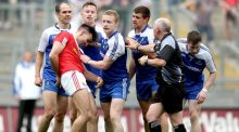Tiernan McCann surrounded by Monaghan players during the All-Ireland quarter-final at Croke Park. McCann's proposed eight-week ban for bringing the Association into disrepute was thrown out at a Central Hearings Committee. Photograph:  James Crombie/Inpho