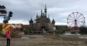 A general view of Dismaland, a collection of satirical art and sculpture by the graffiti artist Banksy, which is to go on show in Weston-super-Mare, Somerset.Photograph:  Claire Hayhurst/PA Wire