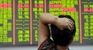 Chinese stocks plunged on Tuesday August 18th. Photograph: Reuters/China Daily