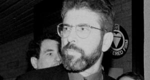 Gerry Adams  led a delegation of language activists to the Arts Council in 1986. Photograph: AP Photo/Alastair Grant