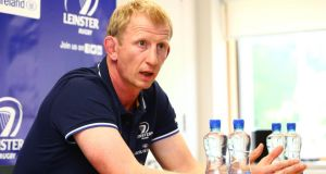 New Leinster coach Leo Cullen at a press conference in UCD. Photograph: Cathal Noonan/Inpho