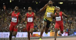 Usain Bolt pipped Justin Gatlin to win gold in the World Championships 100m. Photograph: Afp