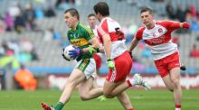 Kerry's Andrew Barry evades Derry's Oisin Duffin and Michael McEvoy during his side's All-Ireland minor semi-final win at Croke Park. Photograph: Inpho