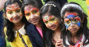 Children from the Indian community at the parade in  Doughiska Park in Galway.  Photograph: Joe O'Shaughnessy