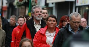 Sinn Féin president Gerry Adams participates in  a national hunger strike commemoration march in Dundalk on Sunday, August 23rd, 2015. Photograph: Nick Bradshaw/The Irish Times
