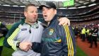 Kerry manager Eamonn Fitzmaurice and trainer Cian O'Neill celebrate after their side beat Tyrone in the All-Ireland senior football championship semi-final at Croke Par. Photo: Andrew Patton/INPHO