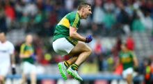 Kerry's James O'Donoghue jumps with joy following at the final whistle at Croke Park. Photograph: Cathal Noonan/Inpho