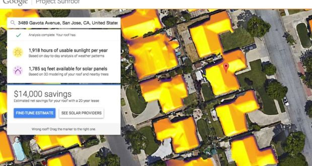 Google Solar Roof >> Web Log Test Solar Panel Potential With Project Sunroof