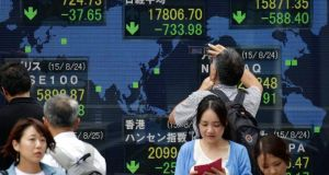 Japan's benchmark Nikkei 225 Stock Average closed  on August 25th at 17,806.70, down 733.98 points, while the US dollar traded in the upper 191 yen range. Photograph: Kiyoshi Ota/EPA