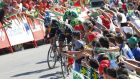Movistar's Spanish cyclist Alejandro Valverde rounds the final bend ahead of Peter Sagan and Nicolas Roche to win the fourth stage of the 2015 Vuelta Espana. Photograph: Getty Images