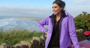 Christine Bleakley at Rossnowlagh on the Wild Atlantic Way for TV programme Wild Ireland. Photograph: Big Mountain Productions